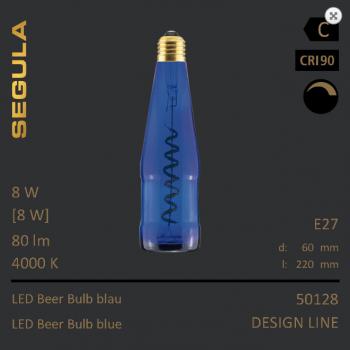 Flaschenleuchte blau Designleuchtmittel Bierglühlampe Segula